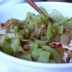 Celery with Chilli Padi and Onion