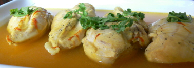 Chicken in saffron broth