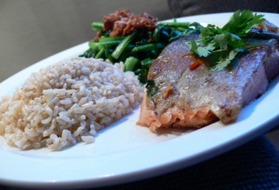 Salmon, Brown Rice and Chye Sim