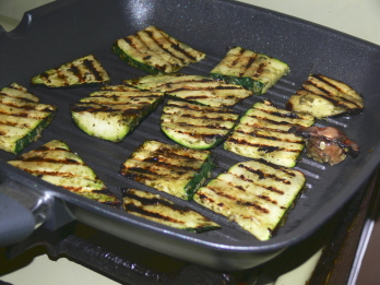 Veggies being griddled