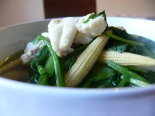 Red Grouper, Spinach and Baby Corn in Chicken White and Green Carrot Soup