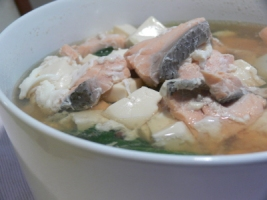 Salmon, Silken Tofu, Chye Sim and Egg White in Multi Veggie Broth