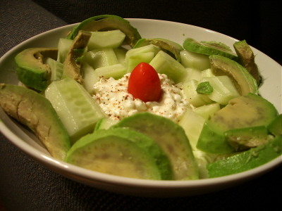 avocado cucumber and cottage cheese salad in garlic olive oil and multipeppercorn