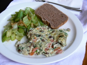 Fritata, Garlic Celery and Organic Wholewheat Walnut Bread