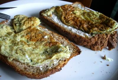 Marjoram Omelette on Organice Wholemeal Walnut Bread