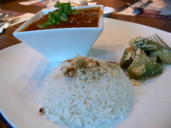 mild chicken curry with basmati and cucumber pickle