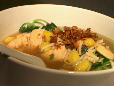 organic ramen with salmon, gingko nuts and spinach in chicken soy broth