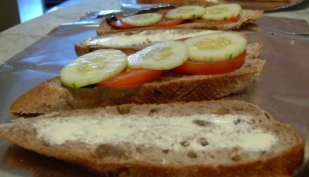 Sliced Walnut Bread with Pickle Cream Cheese Tomato Cucumber