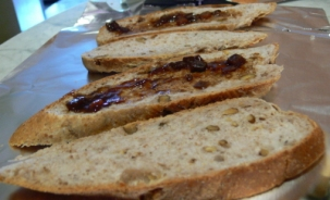 Sliced Walnut Bread with Ploughman's Pickles