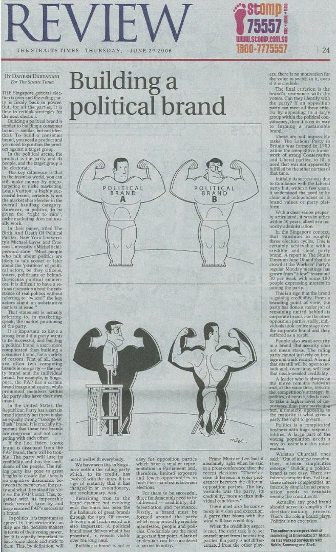 Byline on Straits Time Political Branding